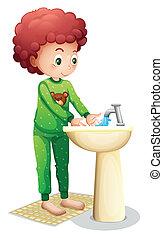 Menino, seu, lavando, jovem, mãos