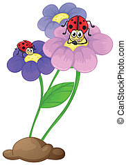Flowers with ladybugs - Illustration of the flowers with...