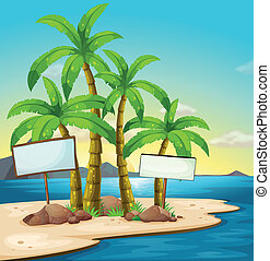 An island with signboards - Illustration of an island with...