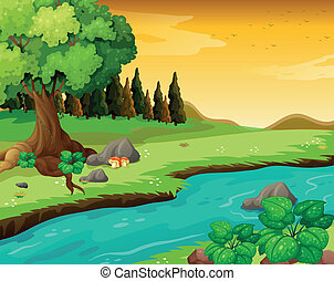 The flowing river at the forest - Illustration of the...