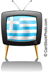 A TV screen with the flag of Greece