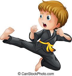 à, młody, Chłopiec, pokaz, jego, Karate, porusza...