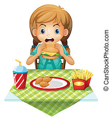 A cute girl eating - Illustration of a cute girl eating on a...