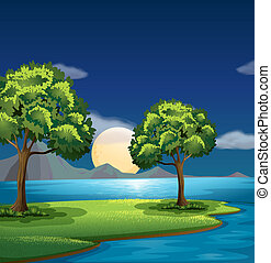 The blue and green colors of nature - Illustration of the...