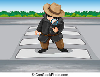 A detective at the pedestrian lane - Illustration of a...