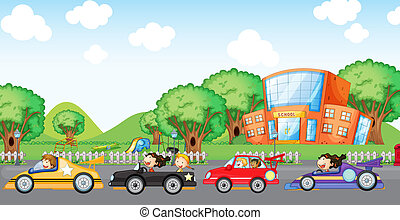 Children car racing - Illustration of the children car...