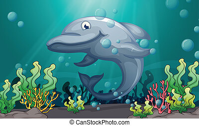 A shark under the sea - Illustration of a shark under the...