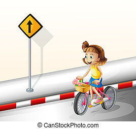 A girl biking at the road - Illustration of a girl biking at...