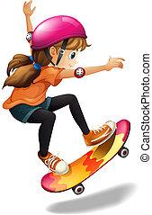 A girl skateboarding - Illustration of a girl skateboarding...