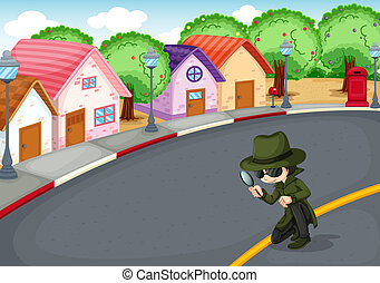 A detective at the road - Illustration of a detective at the...