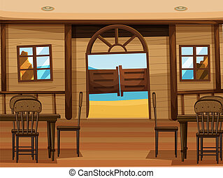 A saloon bar - Illustration of a saloon bar