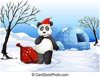 A panda with a red sack - Illustration of a panda with a red...