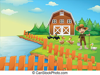 A farmer feeding his ducks - Illustration of a farmer...