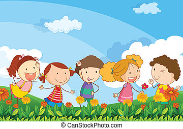 Five adorable kids playing at the garden - Illustration of...