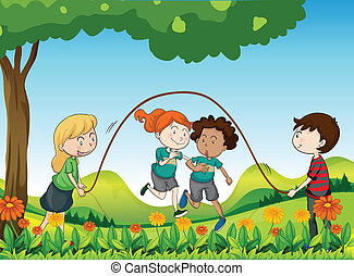 Four kids playing under the tree - Illustration of the four...
