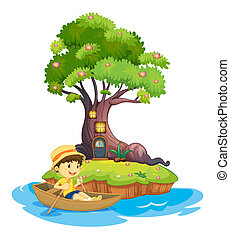A boy boating - Illustration of a boy boating on a white...