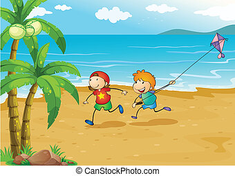 Kids playing at the beach with their kite - Illustration of...