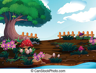 Small plants near the giant tree - Illustration of the small...