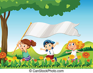 Three kids running with a banner