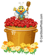 A happy bee above the basket of flowers - Illustration of a...