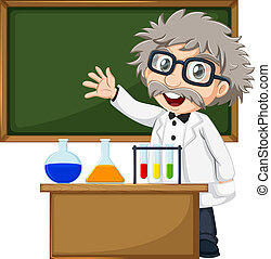 A scientist in front of the empty blackboard - Illustration...