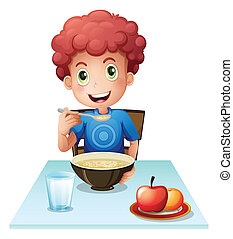 A curly boy eating his breakfast - Illustration of a curly...