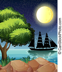 A black ship at the sea under the bright moon - Illustration...