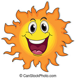 A very happy sun - Illustration of a very happy sun on a...