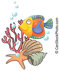 Different sea creatures - Illustration of the different sea...