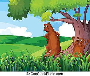 Wild animals under the tree - Illustration of the wild...