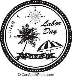 Labor Day Bahamas first of June. Vector holiday symbol.