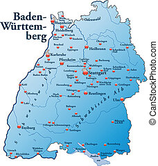 Map of Baden-Wuerttemberg as an overview map in blue