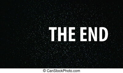 The End title on TV noise backdrop