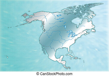 Map of North America as an overview map in blue