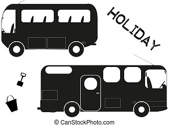 Holiday Tavels - Silhouettes of a Minibus and Campervan...