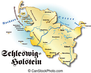 Map of Schleswig-Holstein as an overview map in gold