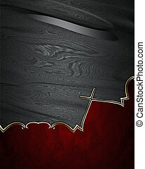 Black background with abstract red-edged with gold trim...