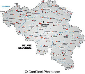 Map of Belgium as an overview map in gray