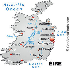 Map of Ireland as an overview map in gray