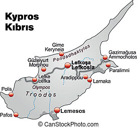 Map of Cyprus as an overview map in gray