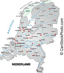 Map of Netherlands as an overview map in gray
