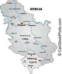 Map of Serbia as an overview map in gray