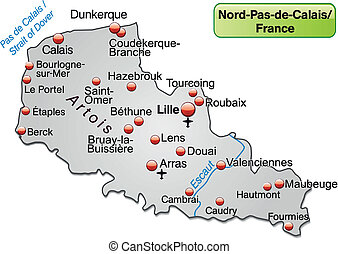 Map of North-pas-de-calais as an overview map in gray
