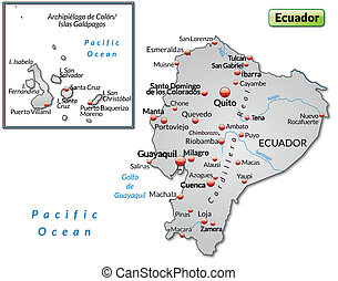 Map of ecuador as an overview map in gray