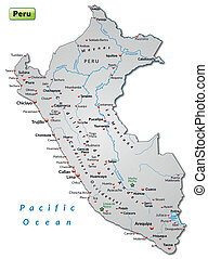 Map of Peru as an overview map in gray