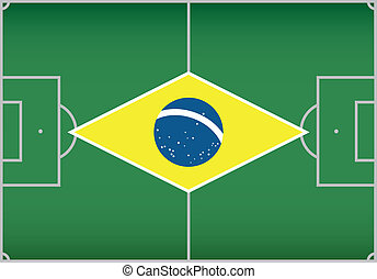 football / soccer field with flag of Brazil. Vector