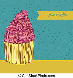 Sweet card with cupcake made in vector