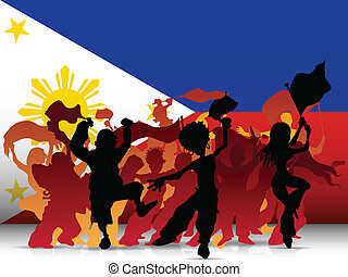 Philippines Sport Fan Crowd with Flag