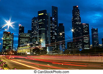 Singapore City Skyline Traffic - View of Singapore business...