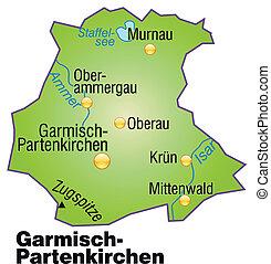 Map of Garmisch-Partenkirchen as an overview map in green